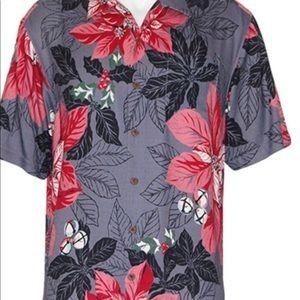Tommy Bahama poinsettia Holiday Camp shirt